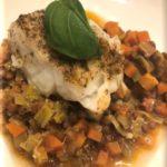 Merluzzo con lenticchie e verdure
